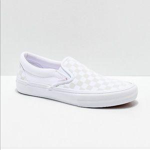 NIB Vans Classic Slip On Checkerboard True White